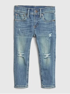 Toddler Destructed Skinny Jeans with Washwell™