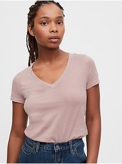 T-shirt à manches courtes et col enV au fini vintage