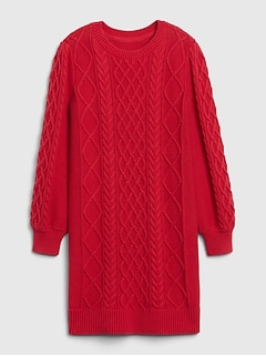 Kids Cable Knit Sweater Dress