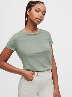 T-shirt ras du cou à manches courtes au fini vintage