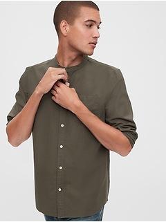 Oxford Band-Collar Shirt