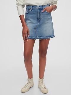 Mini-jupe en denim d'aspect usé