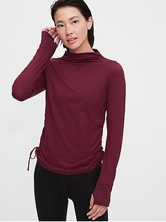 GapFit Brushed Jersey Ruched Side T-Shirt