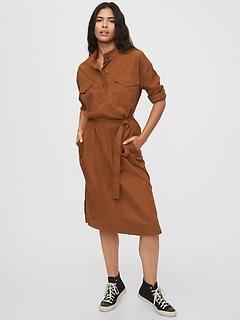 Khaki Midi Shirtdress
