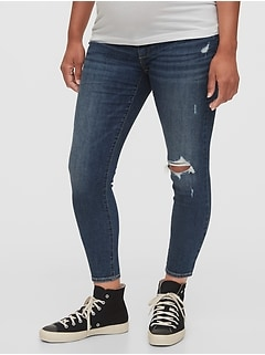 Maternity Inset Panel Destructed Skinny Jeans With Washwell™