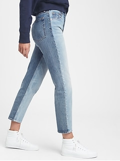 High Rise Two Tone Cheeky Straight Jeans