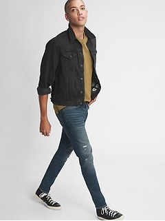 Distressed Skinny Taper High Stretch Jeans with GapFlex