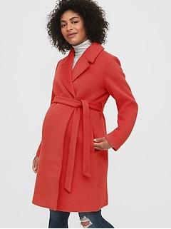 Manteau de maternité croisé en mélange de laine