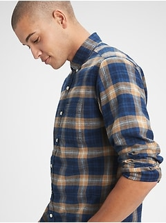 Denim Plaid Shirt in Untucked Fit