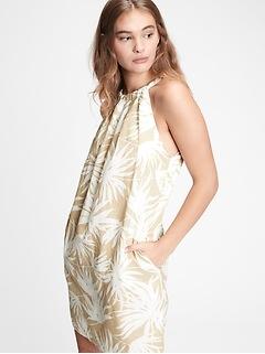 Robe bain-de-soleil sans manches nouée au dos en lin et en coton