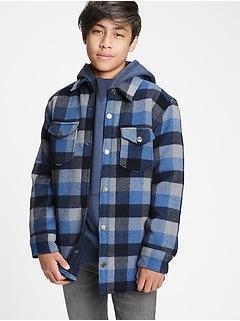 Teen Plaid Shirt Jacket
