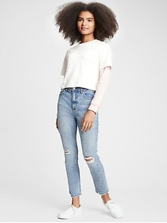 Teen Sky High Rise Super Skinny Ankle Distressed Jeans with Stretch