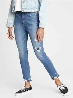 Teen Destructed Sky High Rise Skinny Ankle Jeans with Stretch