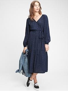Wrap-Front Midi Dress