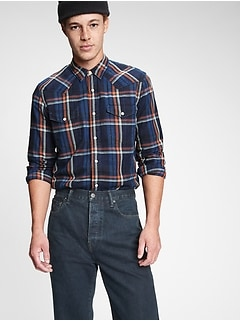 Chemise d'ouvrier à carreaux, coupe cintrée