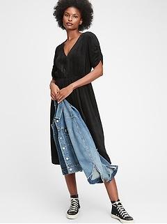 Corduroy Wrap-Front Midi Dress