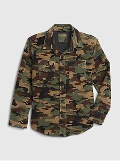 Veste d'ouvrier en velours côtelé à imprimé camouflage pour enfant