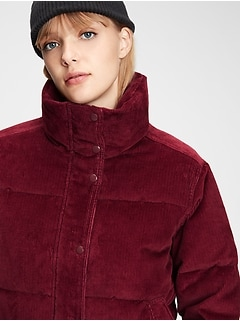 Midweight Cropped Corduroy Puffer Jacket