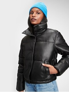 Midweight  Faux-Leather Cropped Puffer Jacket