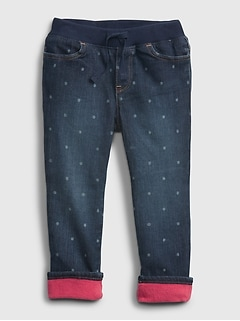 Toddler Lined Pull-On Skinny Jeans with Stretch