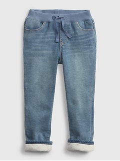 Toddler Recycled Lined Pull-On Skinny Jeans with Stretch