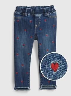 Toddler Embroidered Heart Skinny Ankle Pull-On Jeggings with Washwell™