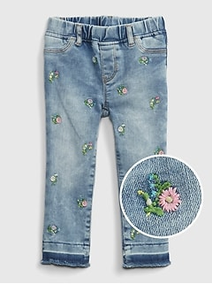 Toddler Embroidered Floral Pull-On Jeggings with Washwell™