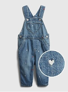 Baby Heart Print Overalls
