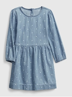 Toddler Polk-A-Dot Denim Dress