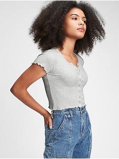 Teen Shrunken Ribbed Knit T-Shirt