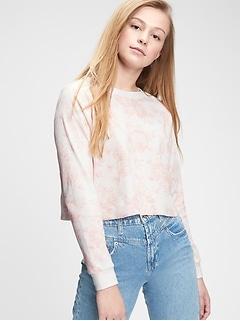 Teen Cropped Waffle-Knit Shirt