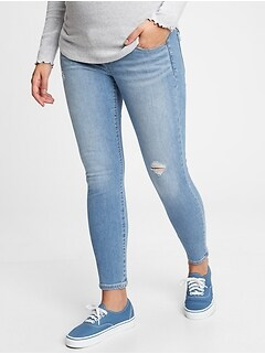 Maternity True Waistband Full Panel Destructed Skinny Ankle Jeans With Washwell™