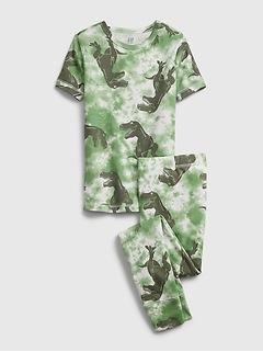 Kids 100% Organic Cotton Tie-Dye Dinosaur Graphic PJ Set