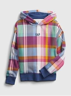 Kids Gap Logo Plaid Hoodie