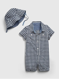 Baby Gingham Print Shorty with Reversible Bucket Hat