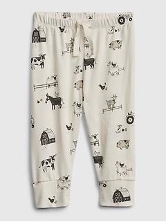 Baby 100% Organic Cotton Farm Animal Pull-On Pants