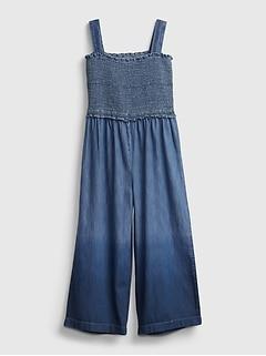 Kids Dip-Dye Smocked Denim Jumpsuit