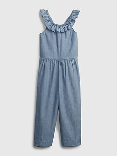 Kids Chambray Cropped Jumpsuit