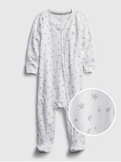 Baby 100% Organic Cotton First Favorite Star Graphic One-Piece