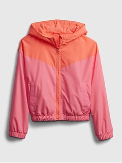 Kids 100% Recycled Polyester Colorblock Windbuster