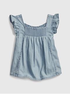 Toddler Smocked Denim Shirt