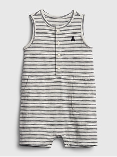 Baby 100% Organic Cotton First Favorite Stripe Shorty One-Piece