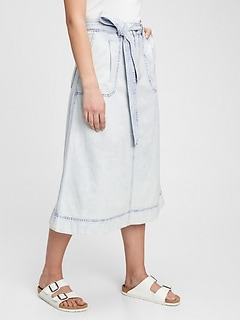 A-line Tie-Belt Midi Skirt with Washwell™