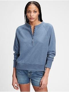 T-shirt henley à manches raglan en jersey bouclette