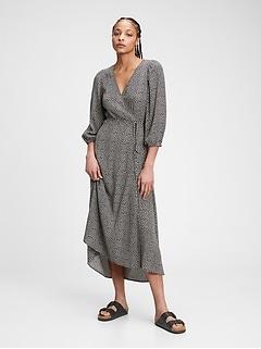 Lenzing™ Ecovero™ Flounce Midi Wrap Dress