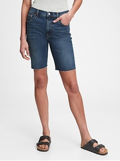 9'' High Rise Denim Bermuda Shorts With Washwell™
