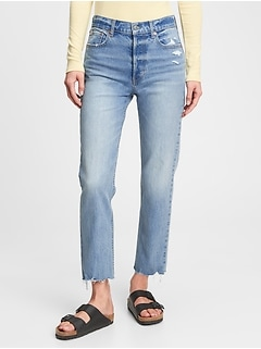 High Rise Distressed Cheeky Straight Jeans With Washwell™