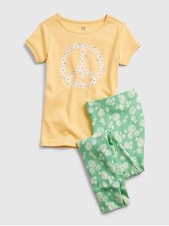 Kids 100% Organic Cotton Daisy Peace Graphic PJ Set