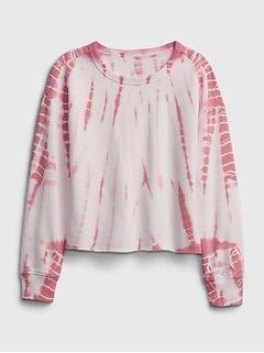 Kids Printed Cut-Off Crop Crewneck Sweatshirt