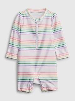 Baby Recycled Polyester Rainbow Stripe Swim Rash Guard One-Piece